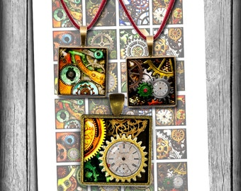 """Steampunk Square Printable Images 1x1"""" 1.5x1.5"""" for Pendants, Magnets Scrapbooking Digital Collage Sheet - Instant Download"""