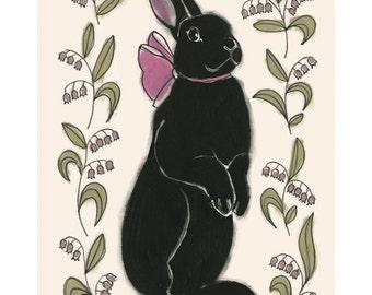 Bunny Rabbit Nursery Art, Rabbit Art Print, Rabbit Artwork, Bunny Rabbit Wall Art - 4 for 3 SALE  - Paulette in Pink