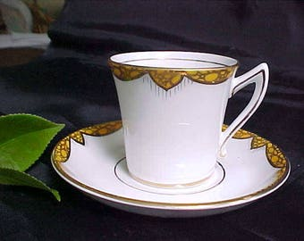 Vintage Thomas Forester Flat Demitasse Cup and Saucer Hand Painted with Lots of Gold Trim, Made in England Phoenix China Demi Cup & Saucer