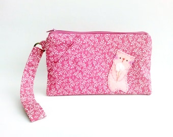 Pink floral case, iPhone 6s plus case, iPhone wristlet, cat iPhone pouch, clutch wallet, fabric iPhone wristlet, iPhone clutch purse, pouch