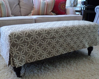 Made to order ottoman slipcovers made from your fabric.