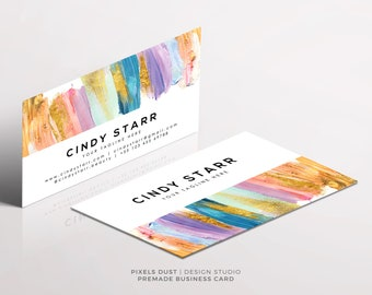 Acrylic Business Card - Watercolor - Colorful - Beauty - Makeup Business Card - Printable - Digital Template - Gold Acrylic Vivid Glitter