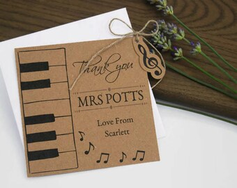 Music Piano Teachers Thank you Card Tag With Envelope Music Piano gift tag Personalised