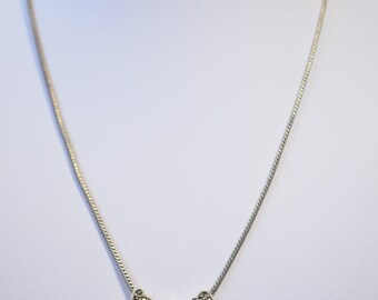 "Vintage Sterling Silver 925 Art Deco Marcasite Heart 16"" Necklace"