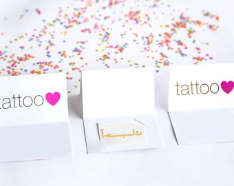 Gift for Her: Arabic I Love You Metalic Gold Temporary Tattoo