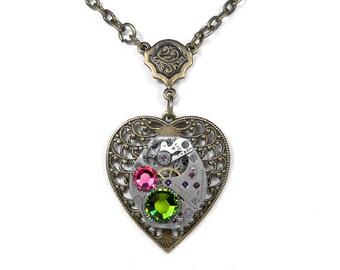 Steampunk Jewelry Necklace Vintage Watch Brass Filigree HEART Olive Pink Crystal Birthday Girlfriend Holiday Gift Women - Steampunk Boutique