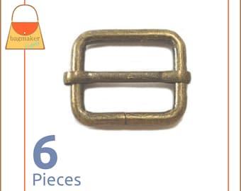 "1 Inch Movable Bar Purse Strap Slides, Antique Brass Finish, 6 Pieces, Handbag Purse Bag Making Hardware Supplies, 1"", BKS-AA033"