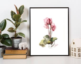 Cyclamens Original Watercolor Painting, white background, botanical painting art, modern watercolour art