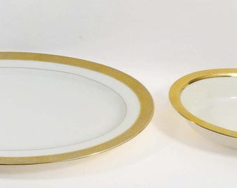 2 Serving Pieces of Lenox M139 Westchester Gold Encrusted China Set