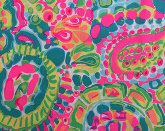 """multi come out of your shell ~ shell print dobby cotton fabric square 12""""x12"""" ~ lilly spring 2017 ~ lilly pulitzer"""