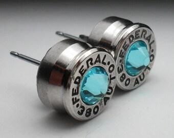 380 Federal HST Nickel Bullet Head Stud Earrings Your Choice of Birthstone Swarovski Crystal