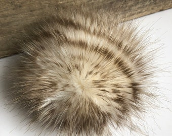 Wild Cat Faux Fur Pom Poms Cream Beige Brown Stripes Beanies Hats Purse Fob Charm Vegan Fake Plush Super Soft Pile Craft Supply