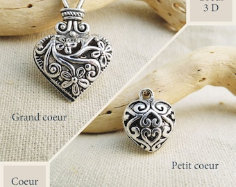Large and small antique silver 3D heart filigree embossed heart charm