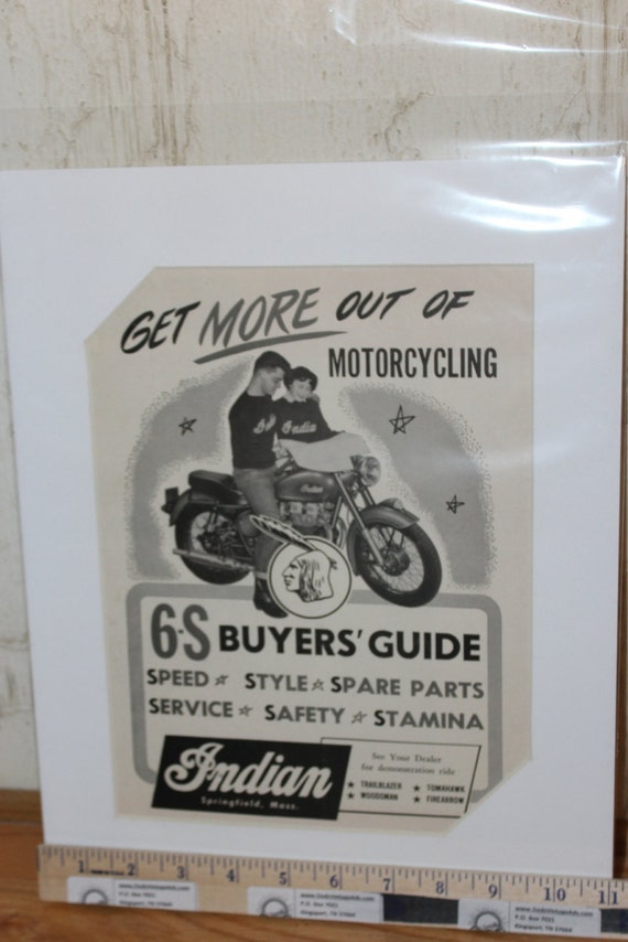 1955 Vintage Indian 11'' x 14'' Matted Motorcycle Print Ad Art Poster #5504mc11m