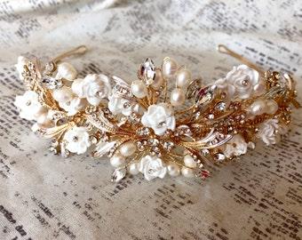 Wedding Tiara, Wedding Headpiece, Wedding Hair Piece, Wedding Hair Accessories, Wedding Headband Gold, Hair accessories for wedding