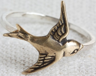 Mixed Metal (Sterling Silver and Oxidized Brass) Swallow Ring