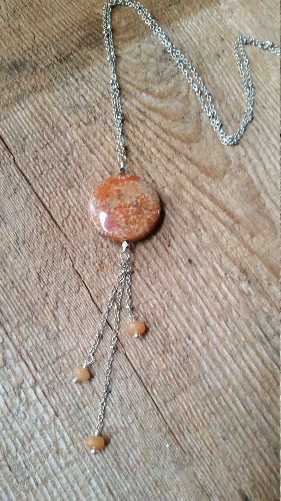 Coral fossil necklace with red aventurine on silver plated satellite chain