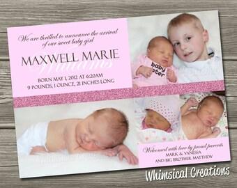Baby Girl Birth Announcement (Digital File) Maxi - I Design, You Print