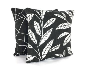 Black Throw Pillow COVERS Decorative Pillow Black White Home Decor Linen Like Accent Sofa Pillow for Couch Designer Slub Canvas Pillows Bed