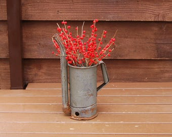 Galvanized Oil Can, Vintage Huffman Can, Rustic Vase,  Oil Pitcher, Rustic Oil Pitcher