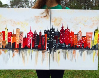 City Skyline Art // Cityscape Canvas Painting // City Artwork
