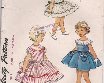 ON SALE 1950's Sewing Pattern - Simplicity 4954 Girls Dress, Size 6 Cut, Complete