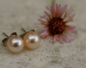 7mm perfect round pink pearl earring studs on sterling silver