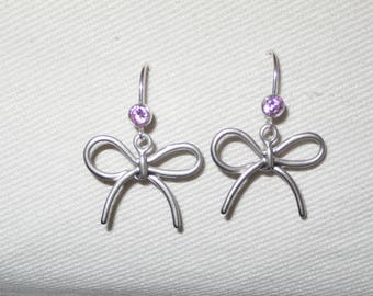 Pink Stud Earrings, bow and Zircon