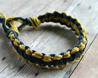 Surfer Macrame Hemp Bracelet Blue Yellow Woven Knot Friendship Bracelets