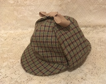 Sherlock Holmes Deer Stalker Ear Flap Trappers Cap - English Wool Plaid Detective Hat - Deerstalker Tweed Wool