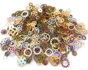500 PCS Steampunk Gears Antique Assorted Mixed Color Vintage Jewelry Scrapbooking Charms Wheel Cog DIY ART Random Shapes and Sizes Made