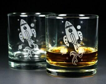 Rocket Ship Lowball Glasses - Set of 2