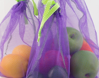 Reusable Produce Bags - Starter Set of 6 -  Zero Waste - 4 Colors available - (1 small, 3 medium, 2 Large) - ECO Friendly Packaged