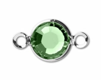 Peridot Channel Link - Swarovski Round Channel - 6mm Peridot Green Silver Plated - Package of 12