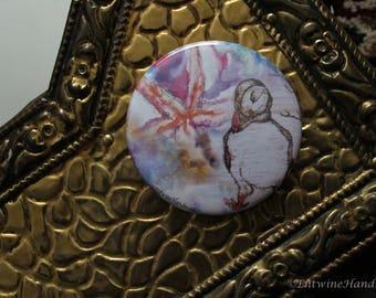 Puffin Compact Pocket Mirror with Velvet Bag Original Artwork