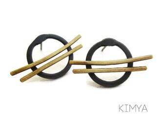 Oxidized Silver Brass Stud Silver Earrings - Contemporary Jewelry - Art Jewelry - OOAK Artisan Earrings - Brushstrokes II