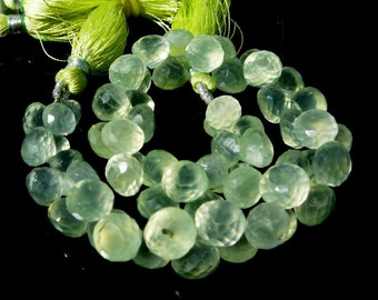 1/2 Strand Finest Quality Natural Prehnite Micro Faceted Onion Briolettes Size 9 - 10mm Approx