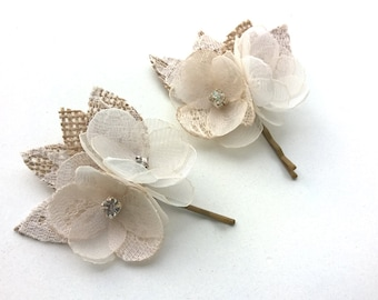 Rustic Hair Accessories, Wedding Hair Clips Duo, Ivory Lace  Hair Flower, Bridal Headpiece, Rustic Hairpiece with  Burlap Lace