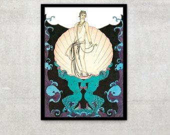 Art Deco print vintage style fashion illustration by George Barbier, IL004.
