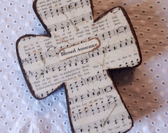 Blessed Assurance Rustic Wood Wall Hymnal Cross MADE TO ORDER