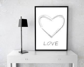 Black heart print, Hart Love print, Love Heart print, Love wall art, Instant download , Printable art, black white print, Black love print