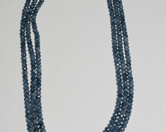 Sapphire Graduated Faceted Rondelle Necklace Beads 4x3-6x4mm - 3 strands