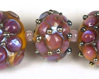 Lampwork glass beads Purple Stones Lampwork beads (3) SRA, jewelry supplies, handmade lampwork, beads