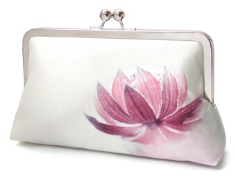 Pink flower clutch bag, silk purse, blossom petals, contemporary flower clutch, pink astrantia