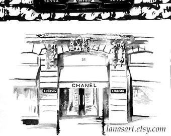 Chanel  House in Paris Watercolor Illustration - Print of Parisian Architecture - Lana Moes Fashion Illustration - Rue Cambon Watercolor
