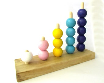 Toddler Counting Bead Stacker - Bead Stacker Counting Board - Learn to Count Bead Stacker - MDH Toys Counting Beads Stacker