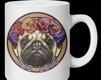 Pug Love - White Ceramic 10oz Mug