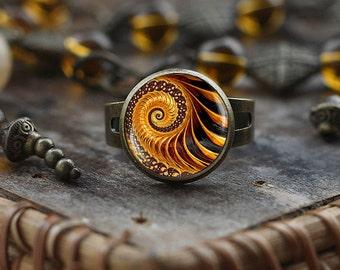 Golden Fractal ring, Fractal ring, Fractal jewelry , Golden Ratio, Fibonacci ring, men's ring, spiral ring, Sacred geometry jewelry,