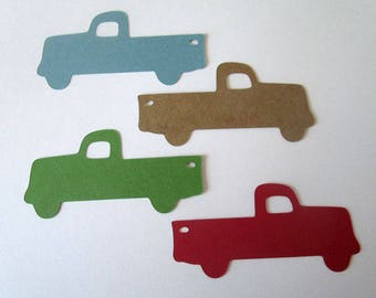 Old Pickup Tags , Little Blue Truck Party Decor, Cupcake Toppers, Wedding, Baby Shower, Vintage Farm Truck Die Cuts, Color and Size Options