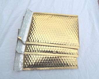 20 6x10 Gold Metallic Beautiful Bubble Mailers Self Seal Envelopes size 0 6x9 usable Shiny Gold Padded Mailing Shipping Envelopes
